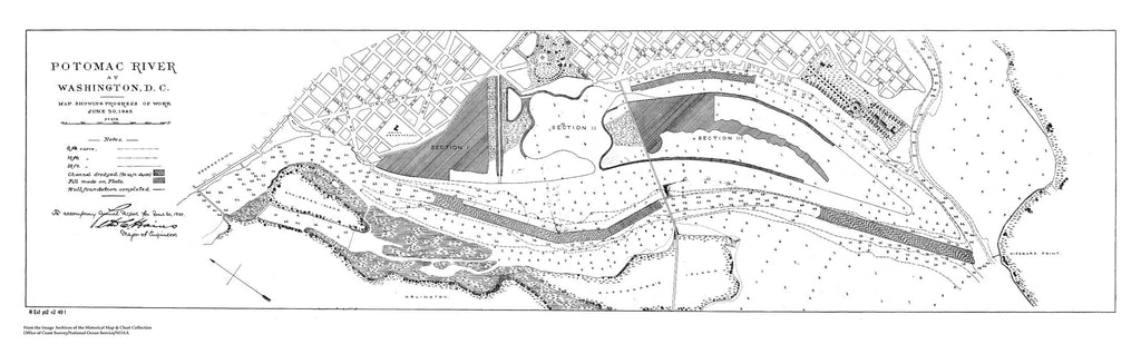 18 x 24 inch 1885 US old nautical map drawing chart of Map Showing Progress of Work on Land Adjacent to DC and Potomac as of June 30, 1885 From  NOAA x1164