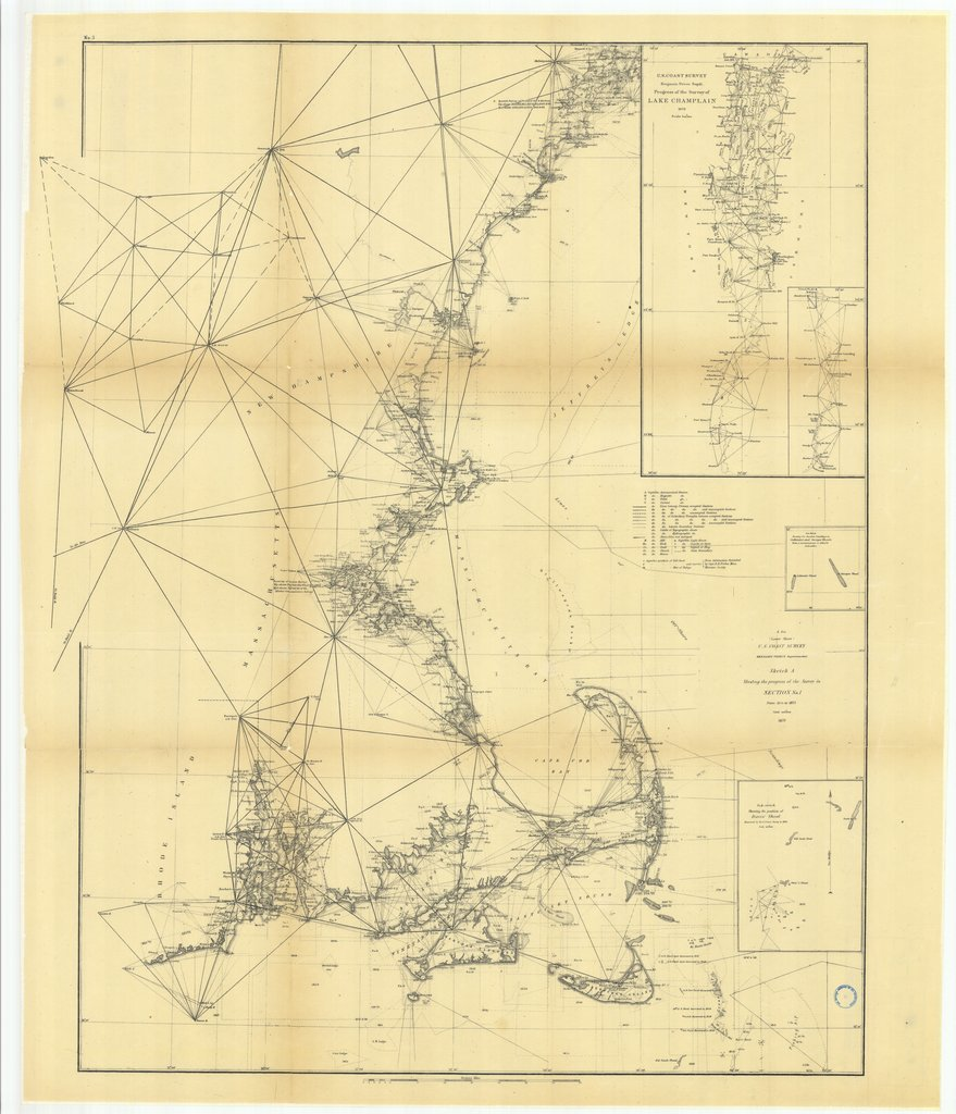 18 x 24 inch 1873 New York old nautical map drawing chart of Sketch A Showing the Progress of the Survey in Section Number 1 from 1844 to 1873, Lower Sheet with Sub Sketches of Davis' Shoal, Cultivator andÉ From  U.S. Coast Survey x7685