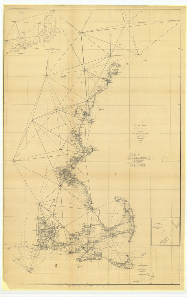 18 x 24 inch 1851 US old nautical map drawing chart of Sketch A Showing the Progress of the Survey in Section Number 1 from 1844 to 1851 with Sub Sketch Showing the Progress of the Survey East of Portland, MaineÉ From  U.S. Coast Survey x3948
