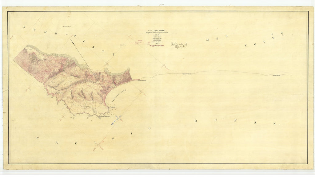 18 x 24 inch 1871 US old nautical map drawing chart of Shelter Cove - Register No. 1236 From  U.S. Coast Survey x2054