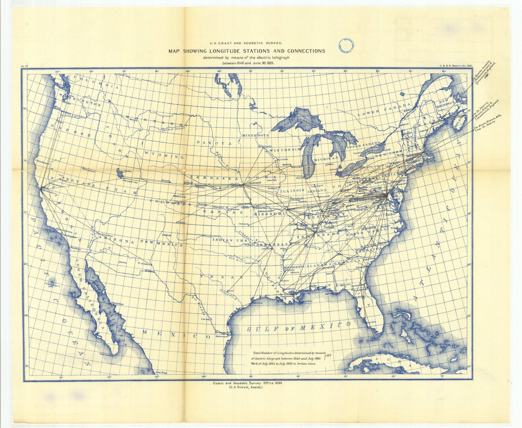 18 x 24 inch 1885 USA old nautical map drawing chart of Map showing longitude stations and connections determined by means of the electric From  US Coast & Geodetic Survey x12135
