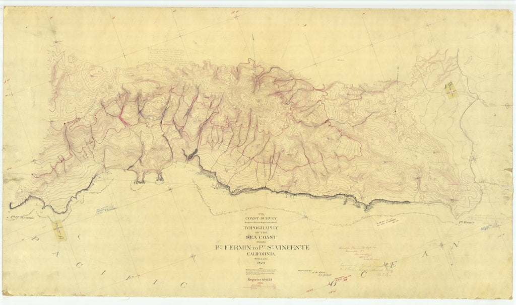 18 x 24 inch 1870 US old nautical map drawing chart of Sea Coast From Pt. Fermin to Pt. St. Vincente, CA From  U.S. Coast Survey x442