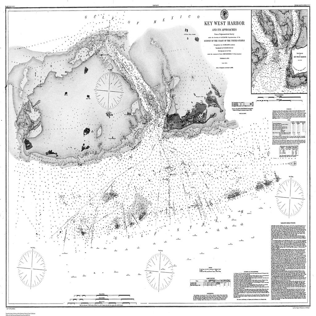 18 x 24 inch 1883 US old nautical map drawing chart of Navigation Chart of Key West Harbor From  U.S. Coast Survey x1761