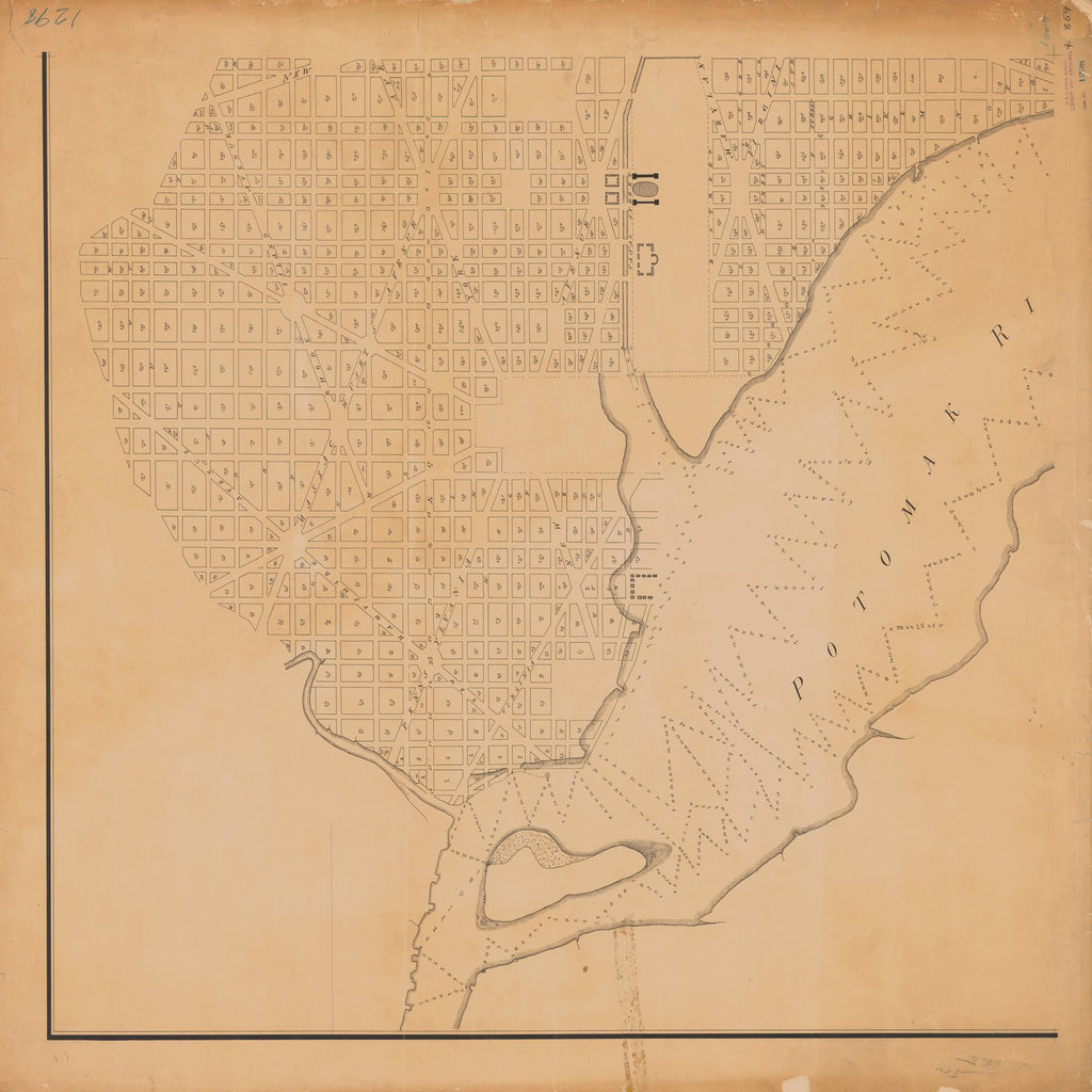 18 x 24 inch 1854 US old nautical map drawing chart of THE DERMOTT OR TIN CASE MAP OF THE CITY OF WASHINGTON 1797-8 From  NOAA x1619
