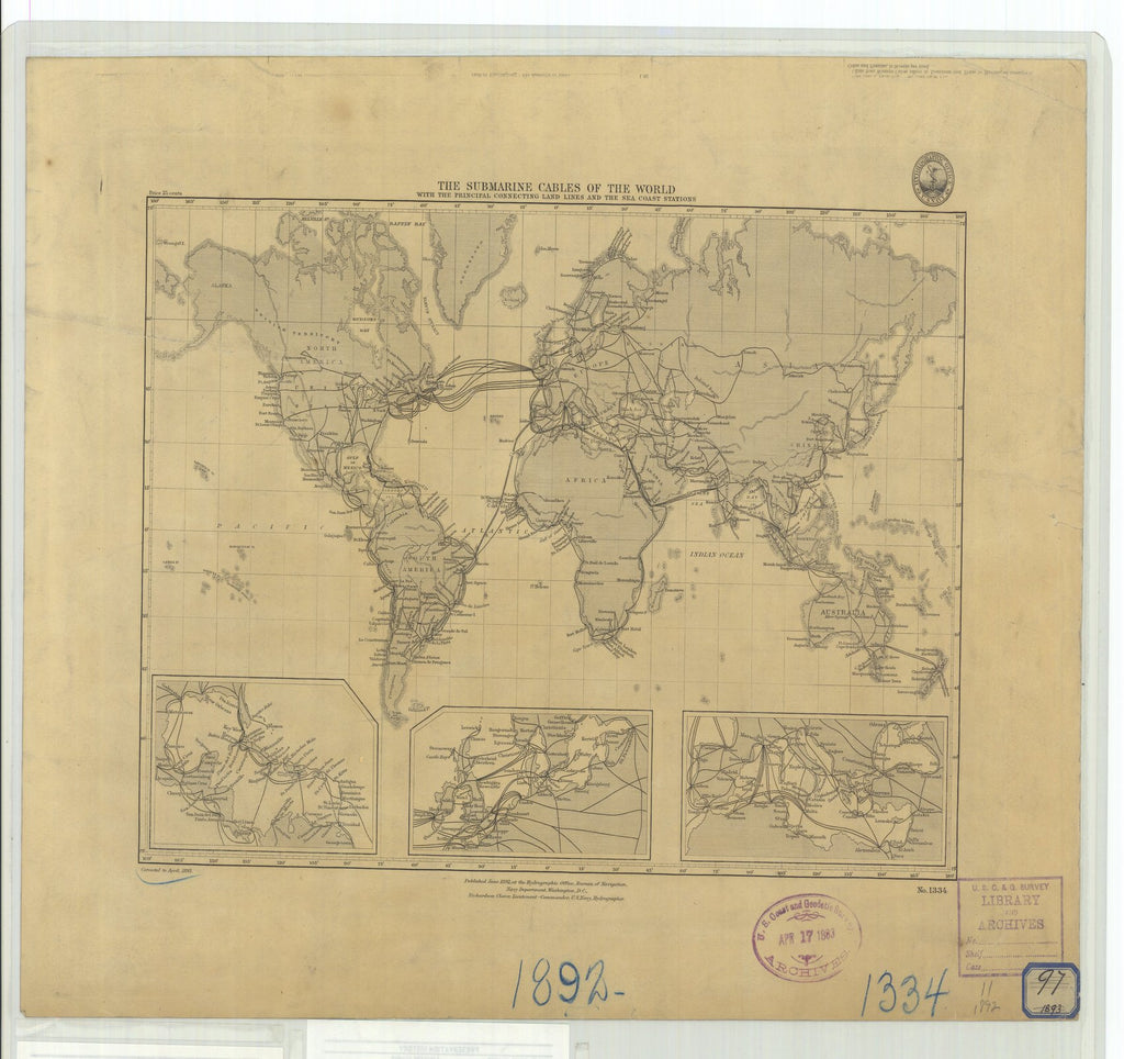 18 x 24 inch 1893 WORLD old nautical map drawing chart of Submarine Cables of the World with the Principal Connecting Land Lines and the Sea Coast Stations From  US Navy x11820