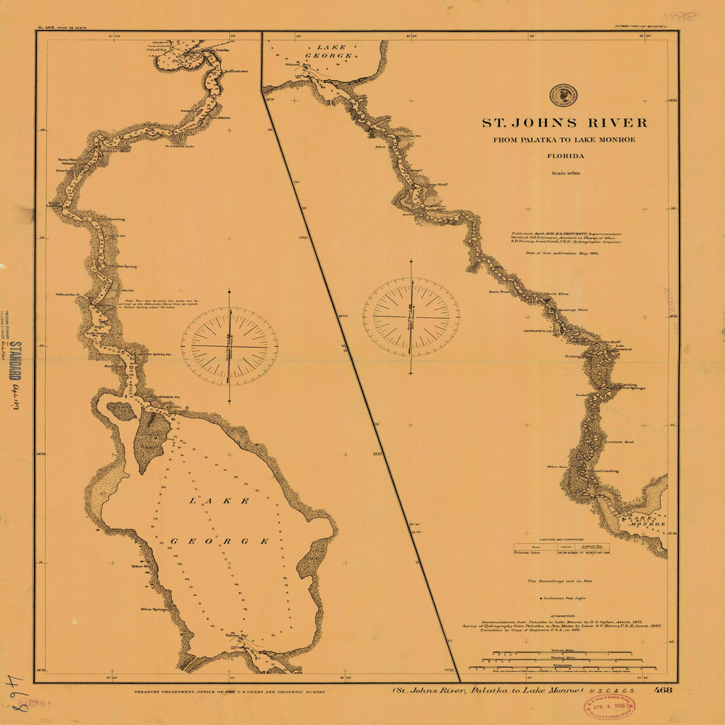 18 x 24 inch 1898 US old nautical map drawing chart of St. Johns River From Palatka to Lake Monroe From  US Coast & Geodetic Survey x2494