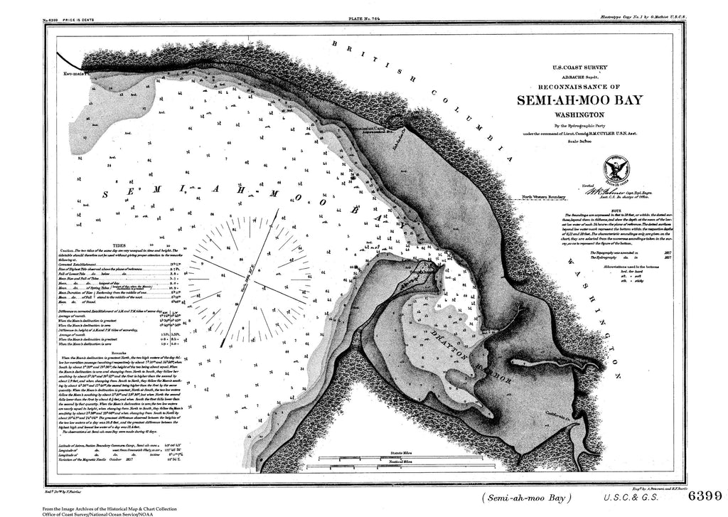 18 x 24 inch 1857 Washington old nautical map drawing chart of Reconnaissance of Semi-Ah-Moo Bay From  U.S. Coast Survey x10115