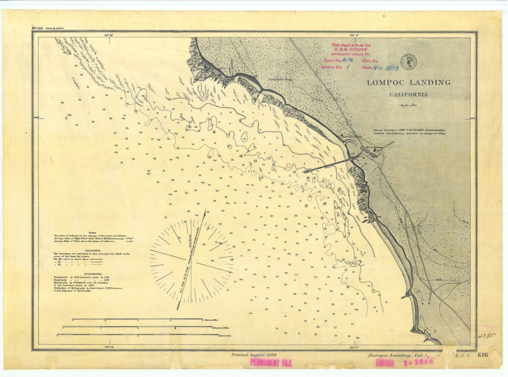 18 x 24 inch 1888 US old nautical map drawing chart of Lompoc Landing California From  US Coast & Geodetic Survey x1248