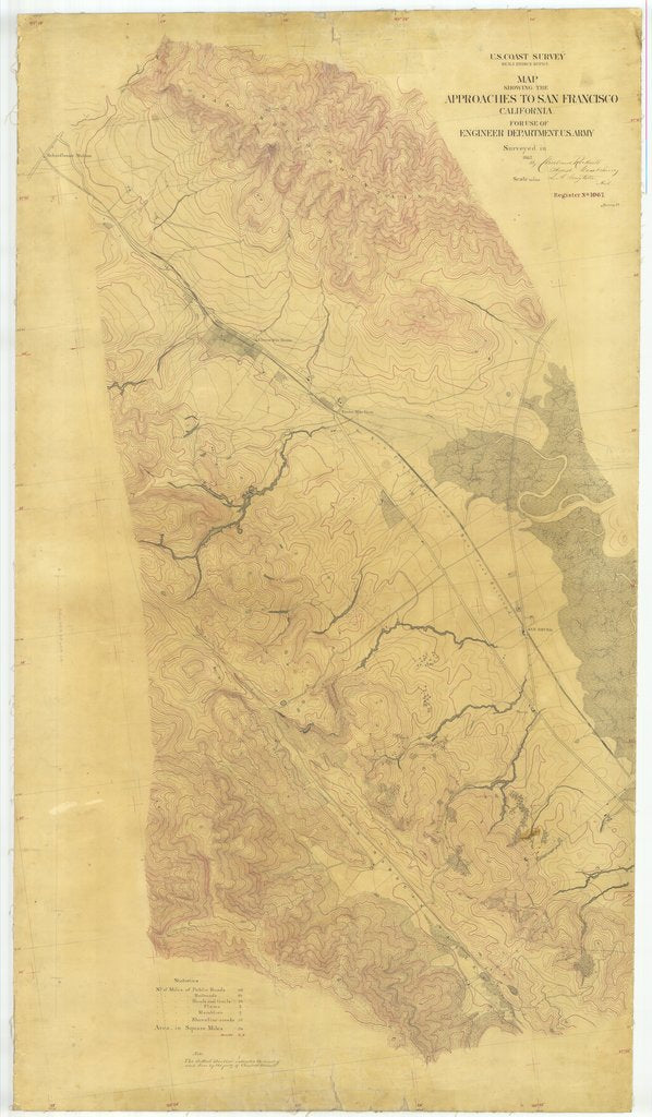 18 x 24 inch 1857 US old nautical map drawing chart of Approaches to San Francisco, California From  U.S. Coast Survey x1665