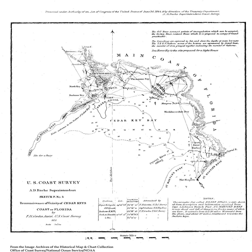 18 x 24 inch 1851 US old nautical map drawing chart of Sketch of Reconnoissance of Vicinity of Cedar Keys, Coast of FL From  NOAA x2573