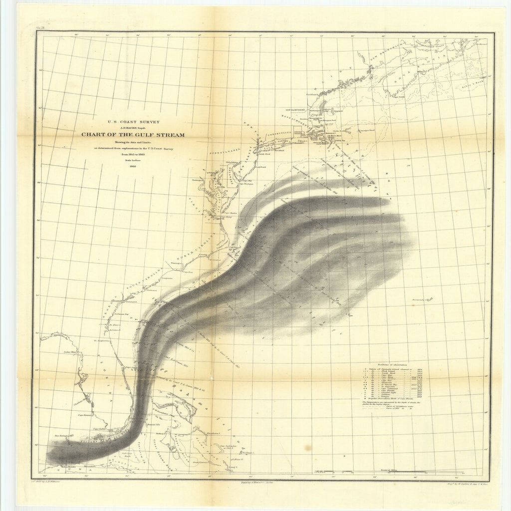18 x 24 inch 1860 US old nautical map drawing chart of Chart of the Gulf Stream Showing its Axis and Limits as Determined from Explorations in the U.S. Coast Survey from 1845 to 1860 From  U.S. Coast Survey x2257