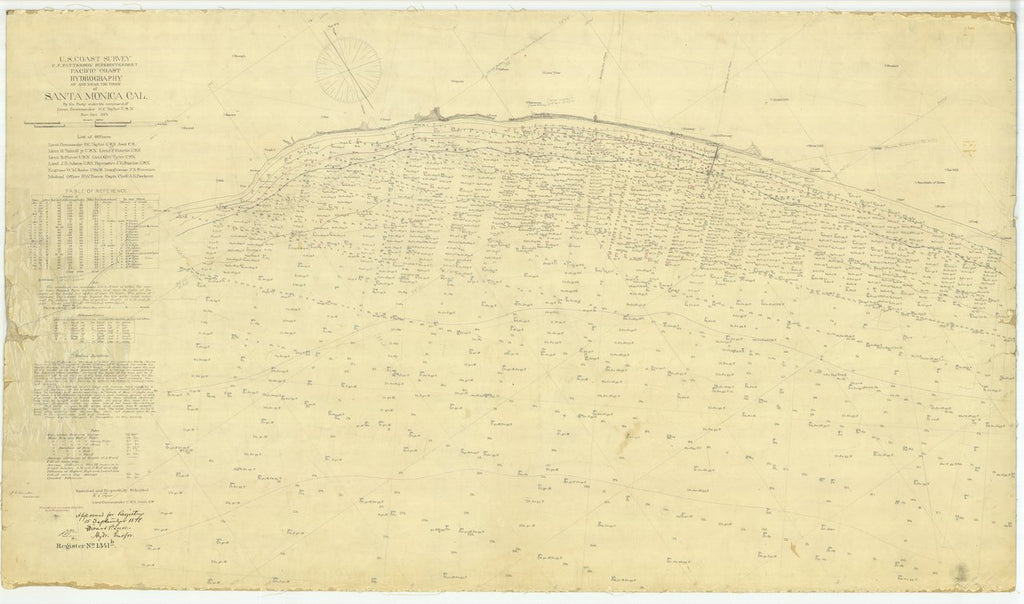 18 x 24 inch 1875 US old nautical map drawing chart of Hydrography at and Near the Town of Santa Monica CA From  U.S. Coast Survey x497