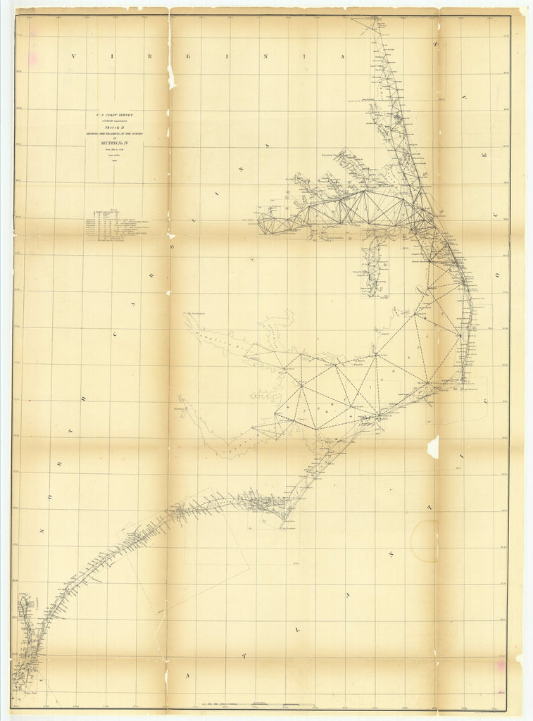 18 x 24 inch 1858 North Carolina old nautical map drawing chart of Sketch D Showing the Progress of the Survey in Section Number 4 from 1845 to 1858 From  U.S. Coast Survey x7176