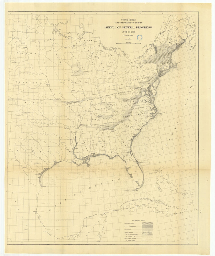 18 x 24 inch 1883 US old nautical map drawing chart of Sketch of General Progress, June 30, 1883, Eastern Sheet From  US Coast & Geodetic Survey x1042