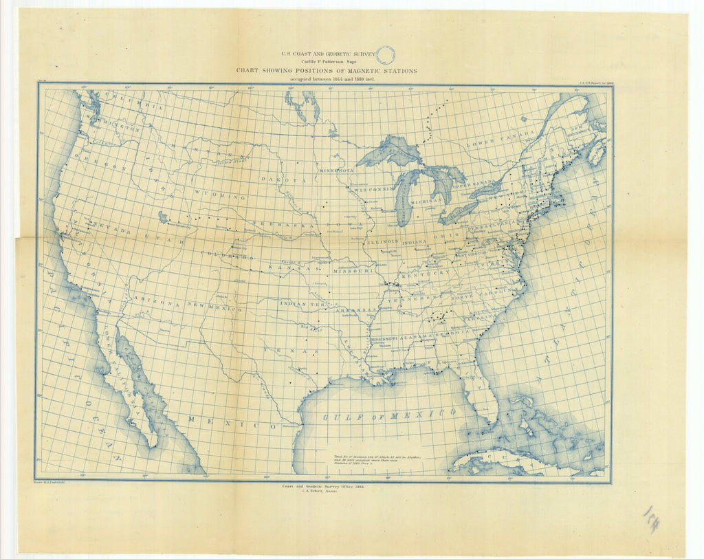 18 x 24 inch 1882 Washington old nautical map drawing chart of Chart Showing Positions of Magnetic Stations Occupied Between 1844 and 1880 From  US Coast & Geodetic Survey x11775