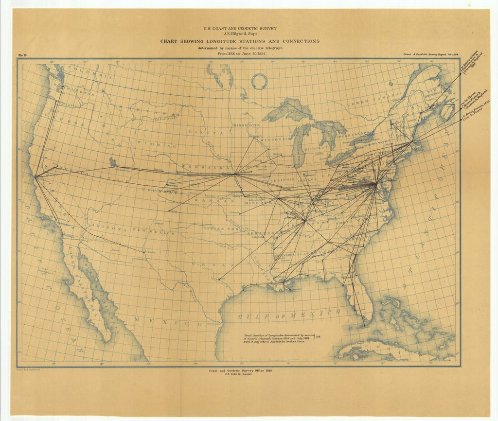 18 x 24 inch 1884 US old nautical map drawing chart of Chart Showing Longitude Stations and Connections Determined by Means of the Electric Telegraph from 1846 to June 30, 1884 From  US Coast & Geodetic Survey x118
