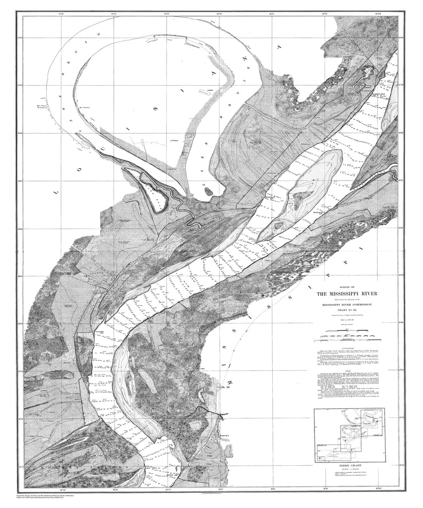 18 x 24 inch 1878 US old nautical map drawing chart of Survey of the Mississippi River From  Mississippi River Commission x2334