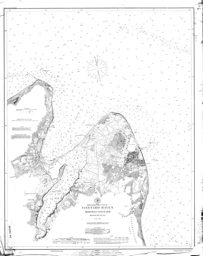 18 x 24 inch 1889 US old nautical map drawing chart of Vineyard Haven : Martha's Vineyard From  NOAA x2235