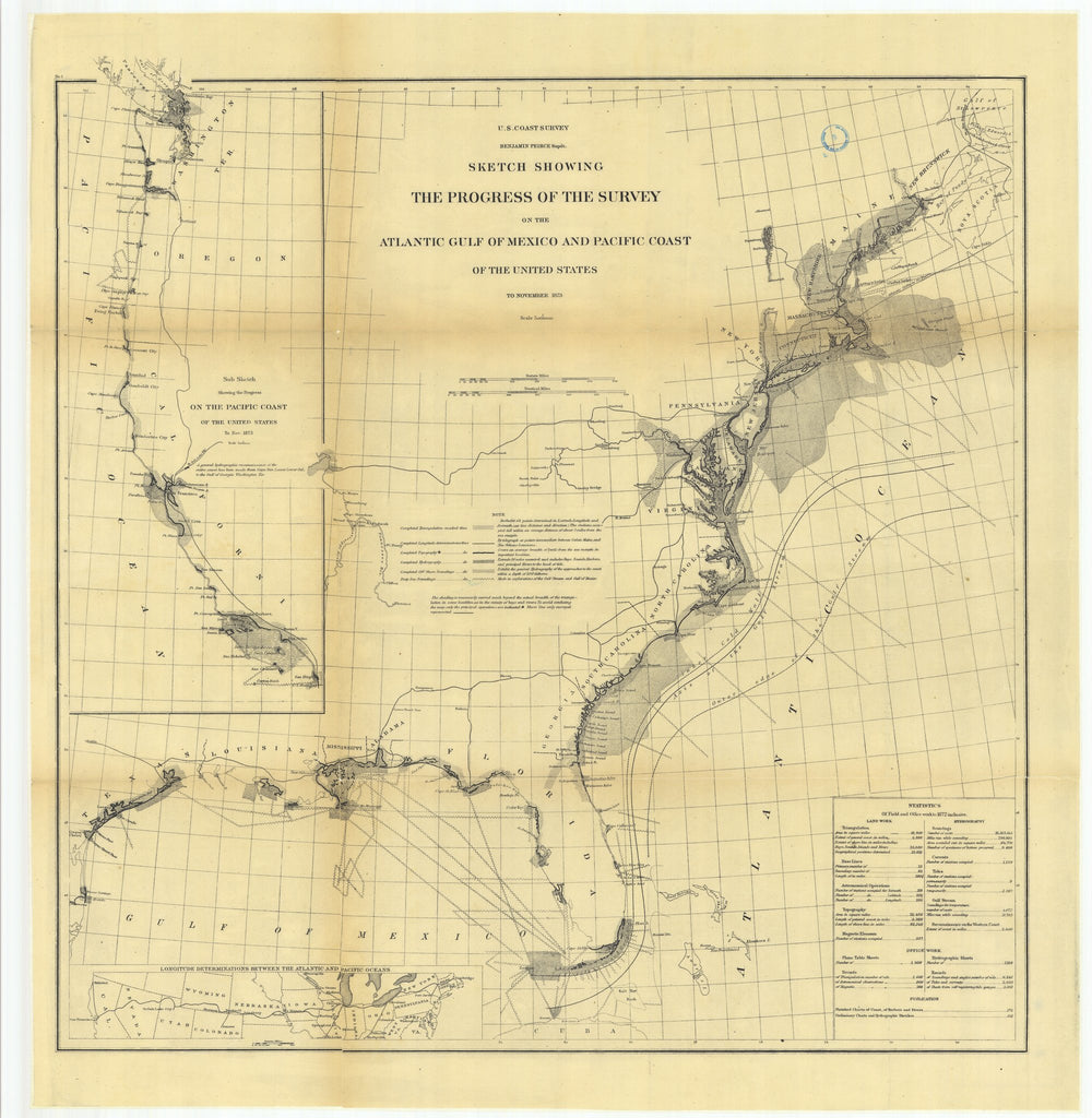 18 x 24 inch 1873 Ohio old nautical map drawing chart of Sketch Showing the Progress of the Survey on the Atlantic Gulf of Mexico and Pacific Coast of the United States to November 1873.. From  U.S. Coast Survey x6774