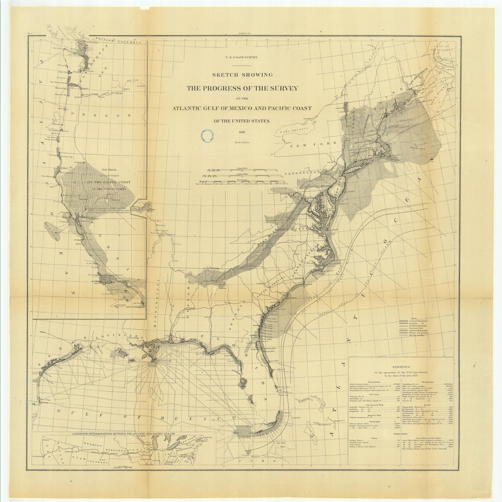 18 x 24 inch 1878 US old nautical map drawing chart of Sketch Showing the Progress of the Survey on the Atlantic Gulf of Mexico and Pacific Coast of the United States and.. From  U.S. Coast Survey x2272