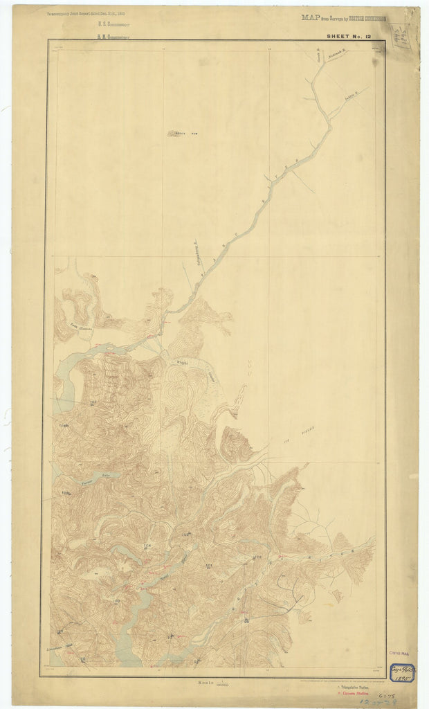18 x 24 inch 1895 US old nautical map drawing chart of Sheet #12 From  Department of the Interior x2609