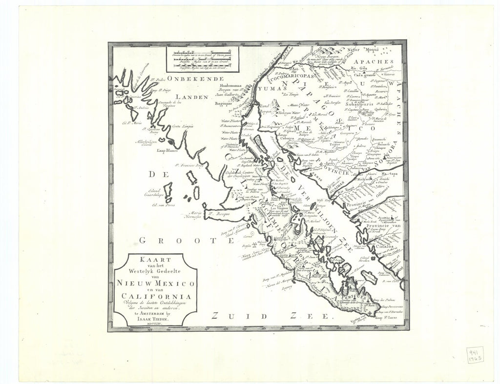 18 x 24 inch 1765 California old nautical map drawing chart of Nieuw Mexico en van California From  Isaak Tirion x12185