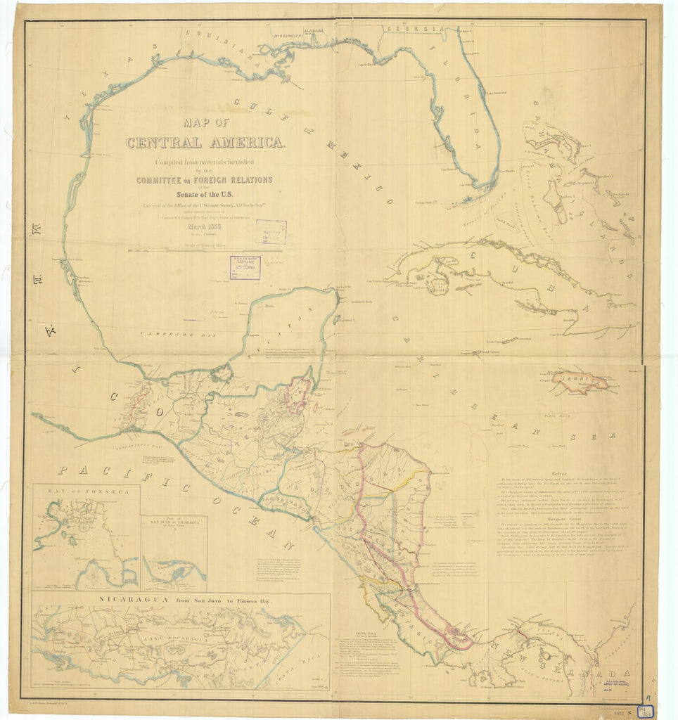 18 x 24 inch 1856 Mississippi old nautical map drawing chart of Map of Central America From  U.S. Coast Survey x6413