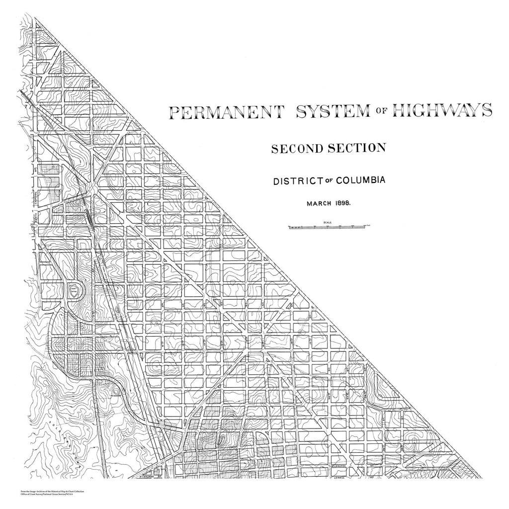 18 x 24 inch 1898 US old nautical map drawing chart of Highway Extension Plan of DC (Second Section) From  NOAA x1613