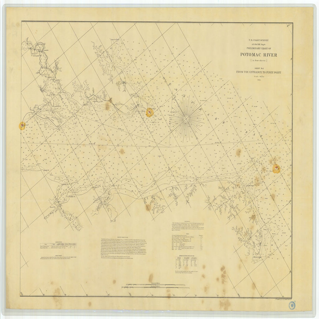 18 x 24 inch 1862 US old nautical map drawing chart of Preliminary Chart of Potomac River From the Entrance to Piney Point Sheet No 1 From  U.S. Coast Survey x4040