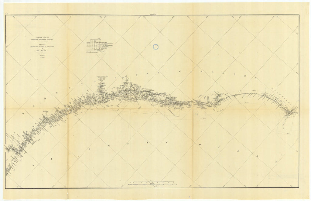 18 x 24 inch 1881 US old nautical map drawing chart of Sketch Showing the Progress of the Survey in Section #5 from 1847 to 1881 From  US Coast & Geodetic Survey x963