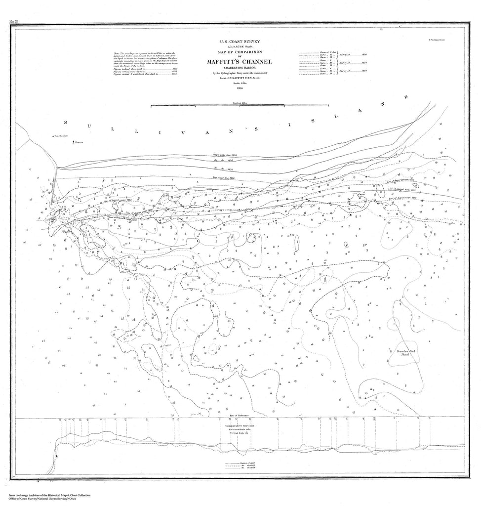 18 x 24 inch 1856 South Carolina old nautical map drawing chart of Map of Comparison of Maffitt's Channel of Charleston Harbor From  U.S. Coast Survey x7544
