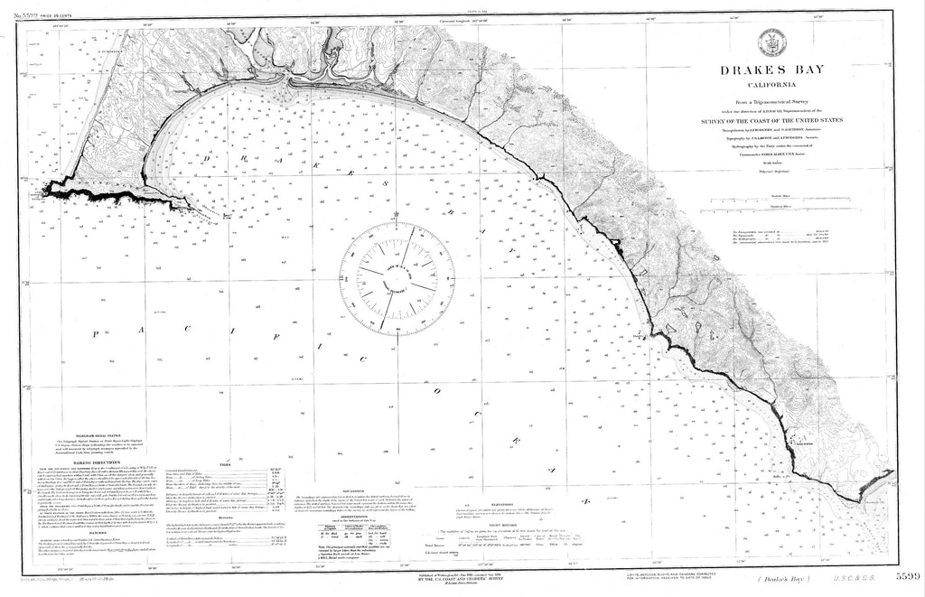 18 x 24 inch 1860 US old nautical map drawing chart of Navigation Chart for Drakes Bay From  US Coast & Geodetic Survey x5681