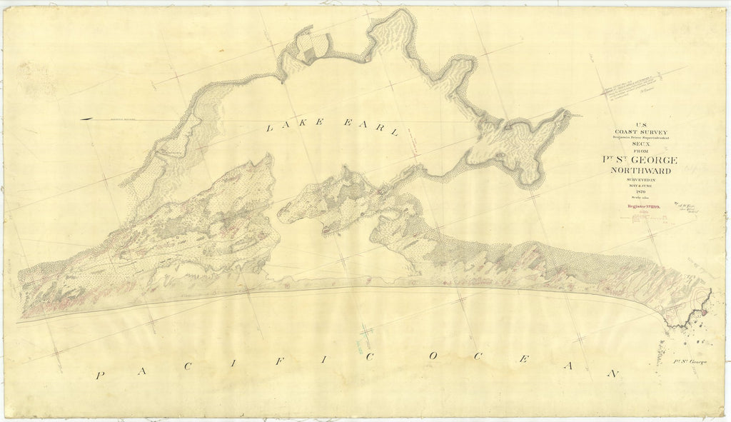 18 x 24 inch 1870 US old nautical map drawing chart of Pt. St. George Northward From  U.S. Coast Survey x1709