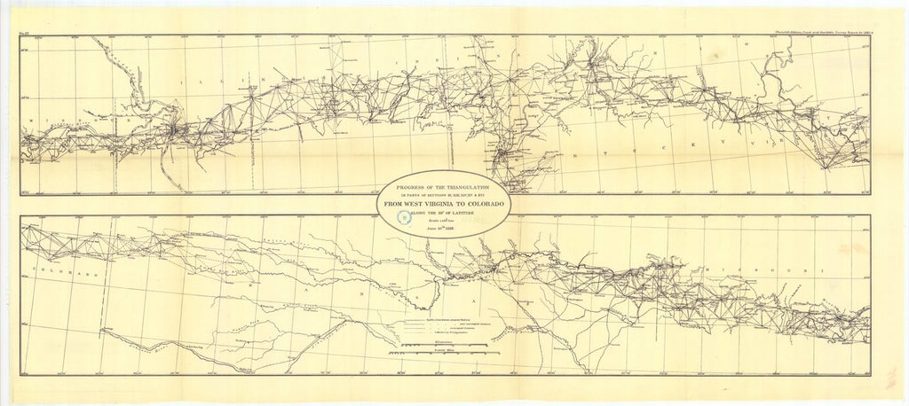 18 x 24 inch 1888 US old nautical map drawing chart of Progress of the transcontinental triangulation along or near the 39th parallel from West Virginia to Colorado From  US Coast & Geodetic Survey x281