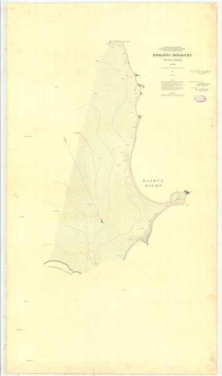18 x 24 inch 1897 US old nautical map drawing chart of Morjovi Rookery St. Paul Island From  US Coast & Geodetic Survey x217