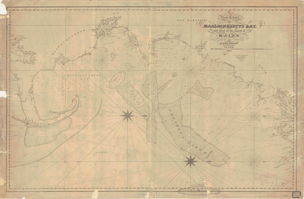 18 x 24 inch 1847 US old nautical map drawing chart of MASSACHUSETTS BAY From  NOAA-NOS x5320