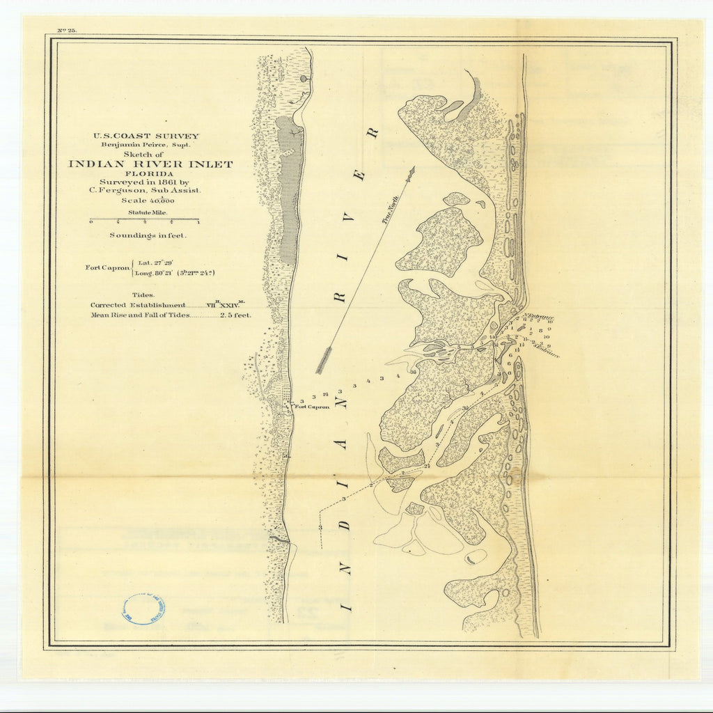 18 x 24 inch 1870 US old nautical map drawing chart of Sketch of Indian River Inlet, Florida From  U.S. Coast Survey x1723