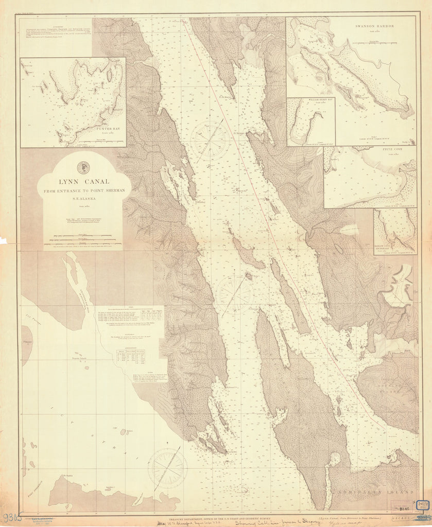 18 x 24 inch 1897 US old nautical map drawing chart of LYNN CANAL FROM ENTRANCE TO POINT SHERMAN From  US Coast & Geodetic Survey x1791