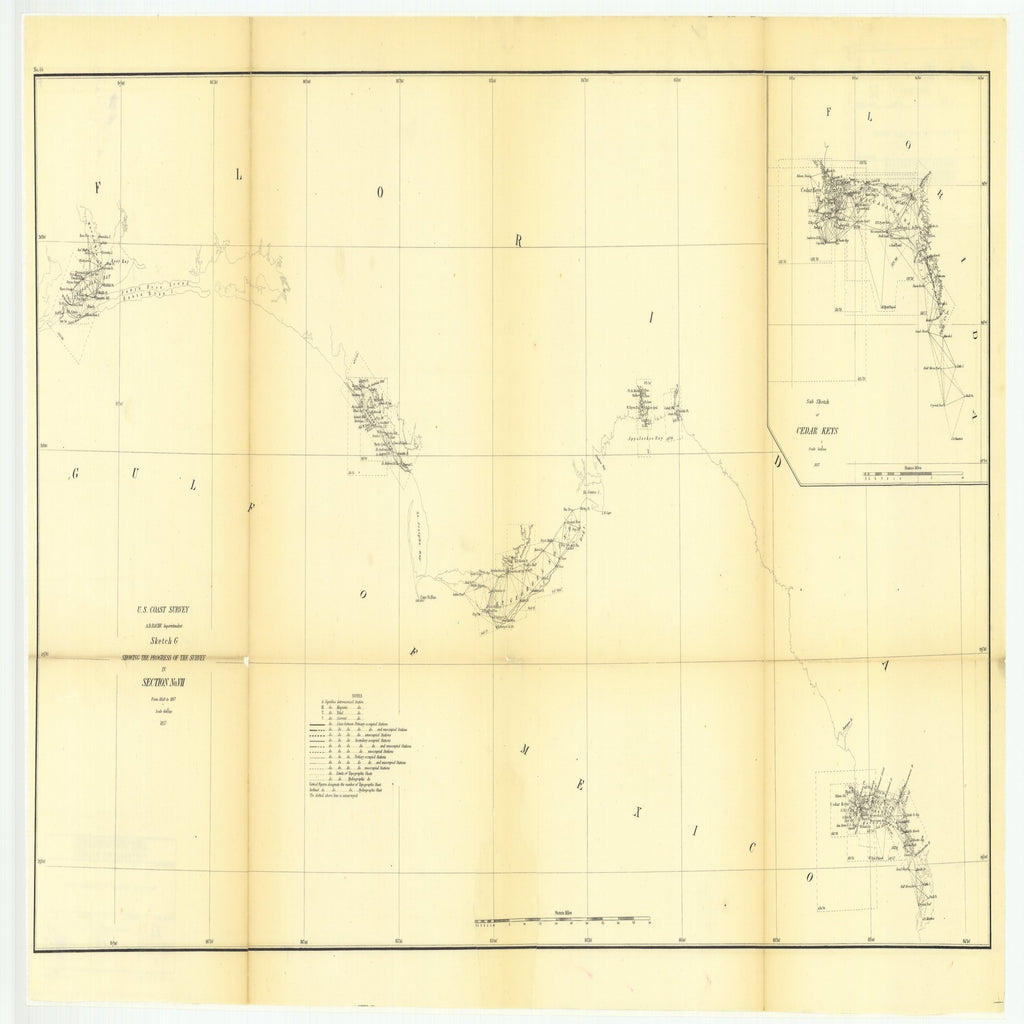 18 x 24 inch 1857 US old nautical map drawing chart of Sketch G Showing the Progress of the Survey in Section Number 7 from 1849 to 1857 with Sub Sketch of Cedar Keys From  U.S. Coast Survey x3194