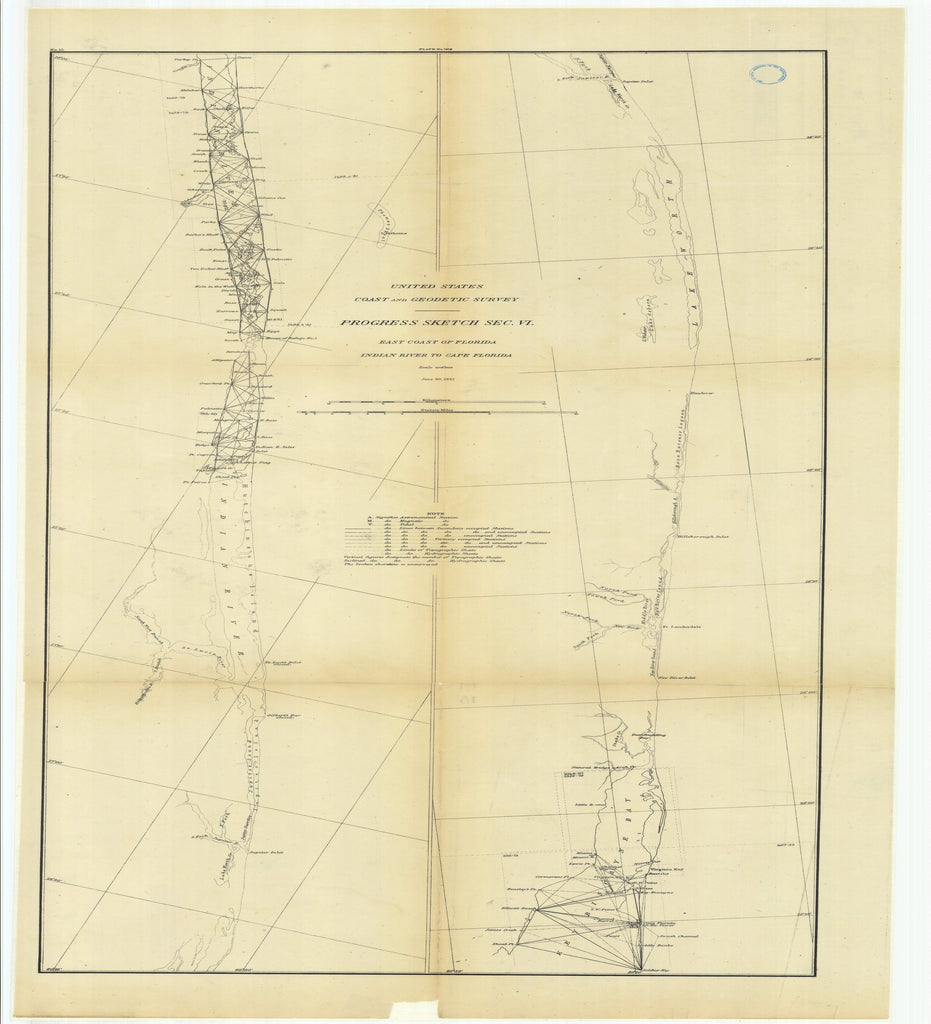 18 x 24 inch 1881 US old nautical map drawing chart of Progress Sketch, Section 6, East Coast of Florida, Indian River to Cape Florida From  US Coast & Geodetic Survey x2549