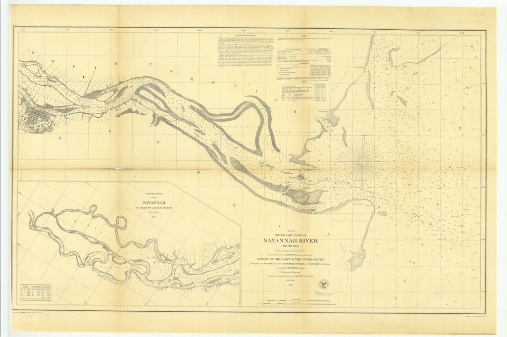 18 x 24 inch 1855 US old nautical map drawing chart of Preliminary Chart of Savannah River, Georgia with a Continuation from Savannah to Head of Argyle Island From  U.S. Coast Survey x541