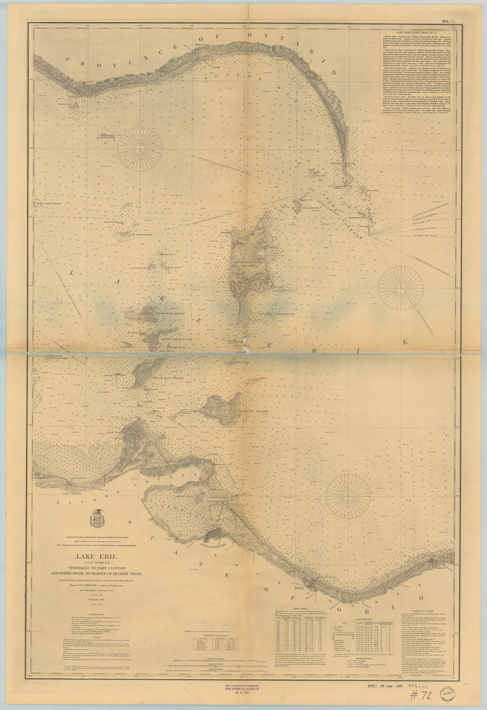 18 x 24 inch 1898 Ohio old nautical map drawing chart of LAKE ERIE VERMILION TO PORT CLINTON, AND POINTE PELEE TO VICINITY OF DETROIT RIVER From  Lake Survey x6733