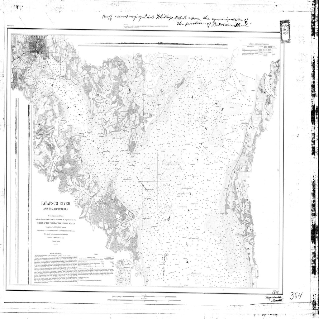 18 x 24 inch 1849 US old nautical map drawing chart of Patapsco River and the Approaches From  U.S. Coast Survey x3580