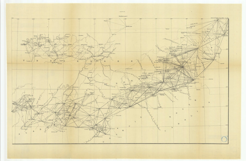 18 x 24 inch 1882 US old nautical map drawing chart of Southern Part From  US Coast & Geodetic Survey x1506