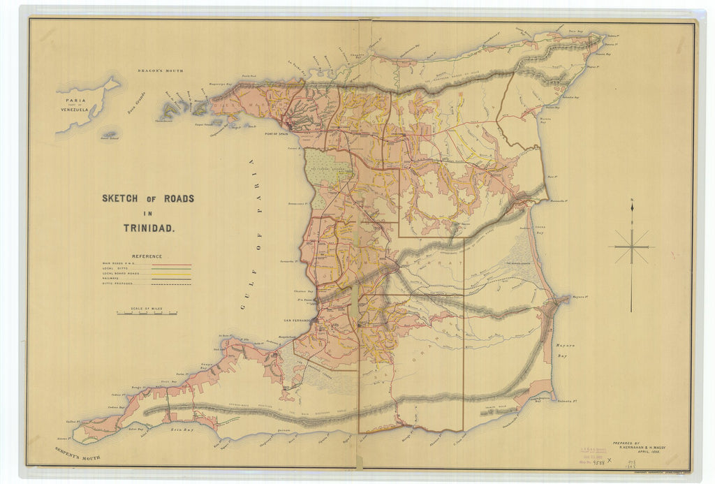 18 x 24 inch 1898 US old nautical map drawing chart of Sketch of Roads in Trinidad From  Stanford's Geographical Establishment x1799