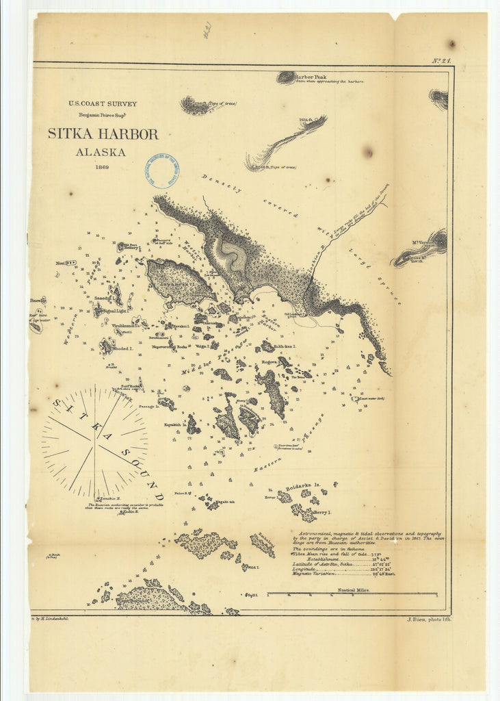 18 x 24 inch 1869 US old nautical map drawing chart of Sitka Harbor Alaska From  Annual Report x1391