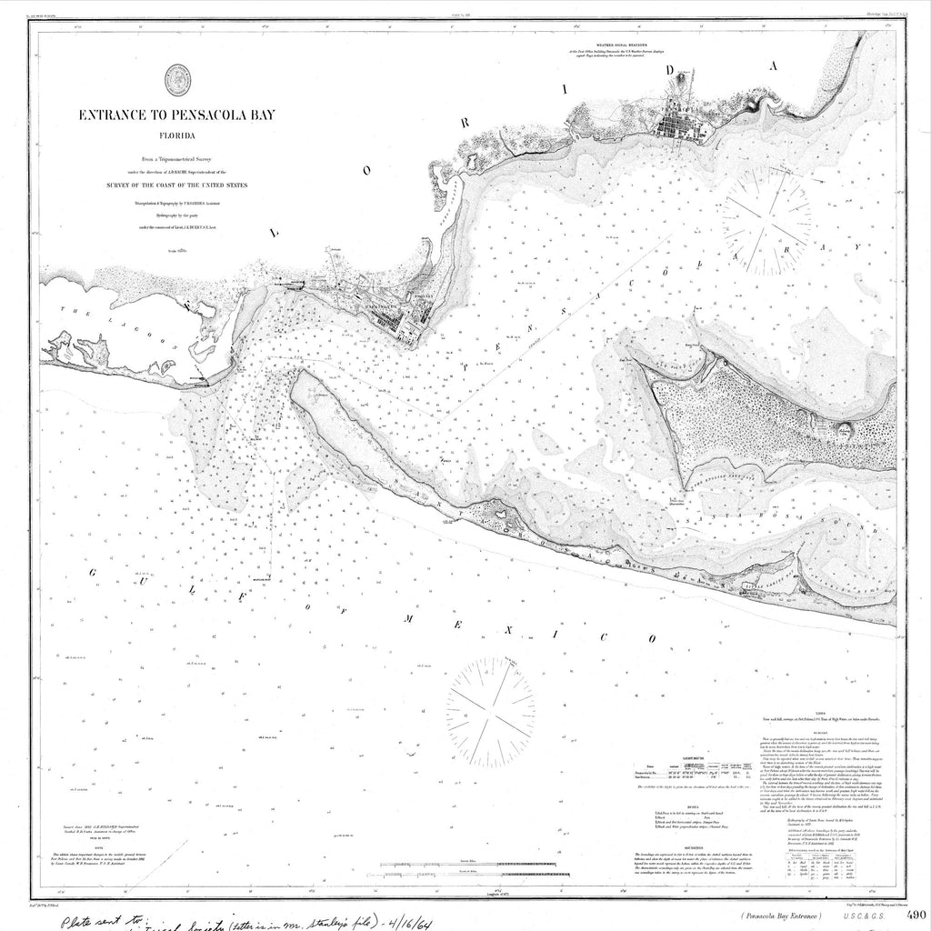 18 x 24 inch 1882 US old nautical map drawing chart of Navigation Chart for the Entrance to Pensacola Bay From  US Coast & Geodetic Survey x1348