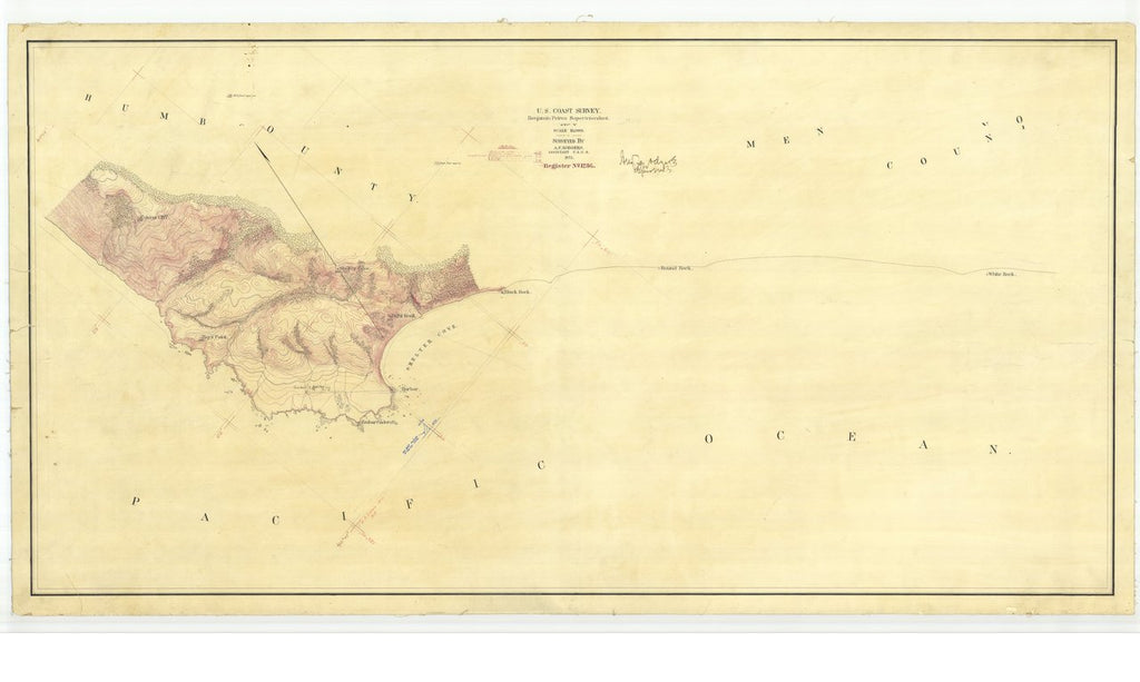 18 x 24 inch 1871 US old nautical map drawing chart of Shelter Cove - Register No. 1236 From  U.S. Coast Survey x457