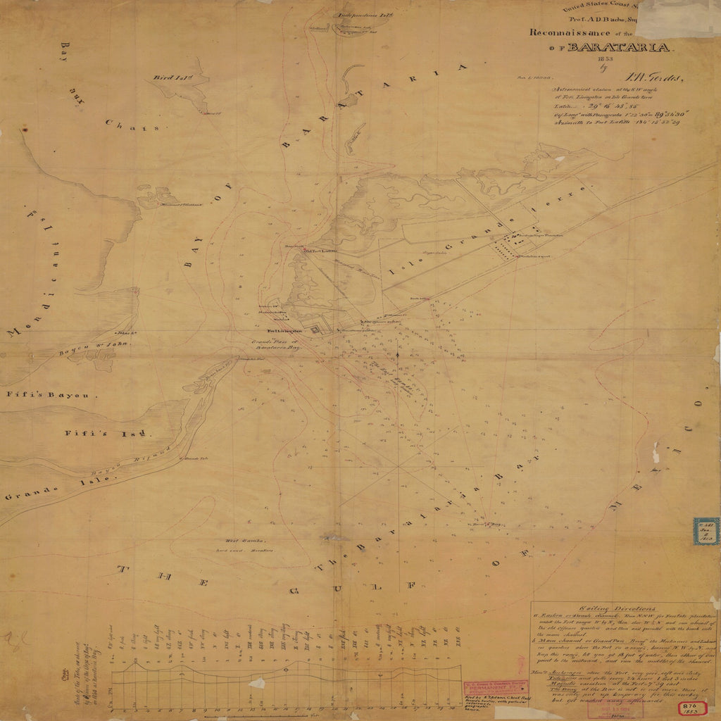 18 x 24 inch 1853 US old nautical map drawing chart of RECONNAISSANCE OF THE BARATARIA From  U.S. Coast Survey x1989