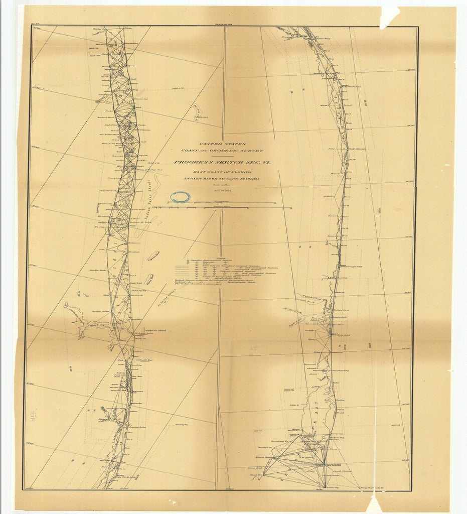 18 x 24 inch 1884 US old nautical map drawing chart of Progress Sketch, Section 6, East Coast of Florida, Indian River to Cape Florida From  US Coast & Geodetic Survey x2565